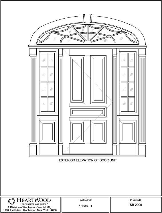 Wood Door Elevation : Single doors w sidelites transom custom wood